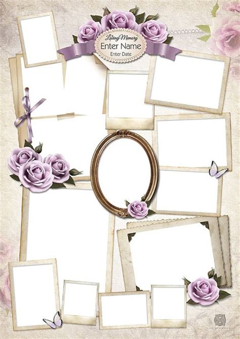 Lilac Rose Collage Design Template Photo Collage Template Collage Template And Collage Funeral Photo Collage Template