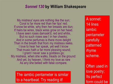 Sonnet 130 Analysis Essay by Sonnet 130 Lesson