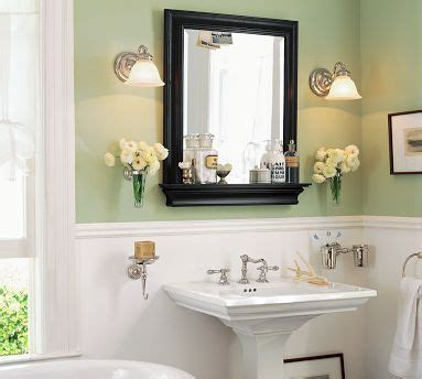 bathroom chair rail and sconces