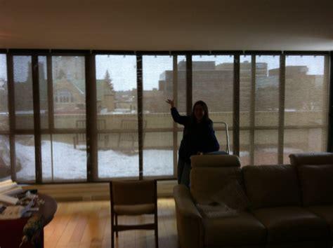 sliding solar screen panels    ft floor  ceiling