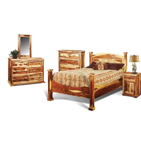 King Bedroom Sets Furniture Tahoe Pine Rustic 6 King Bedroom Set