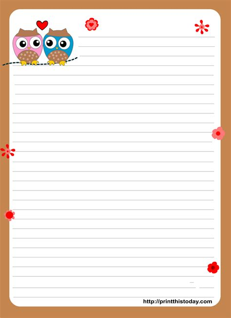 printable paper owl owl writing paper
