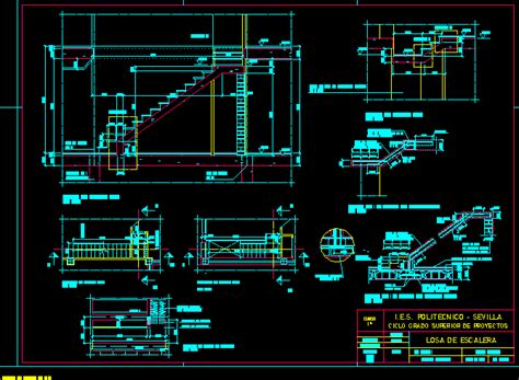 section of stairway in autocad drawing bibliocad