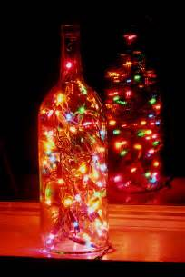 clear wine bottle light with multi colored lights