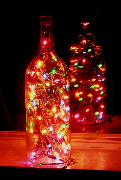 clear wine bottle light with multi colored lights by vtbrownjs