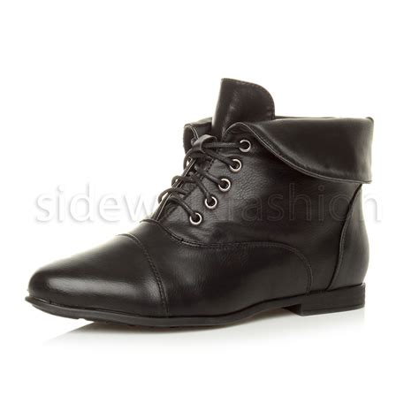 over the ankle boots for womens ladies low heel flat lace up fold over cuff vintage