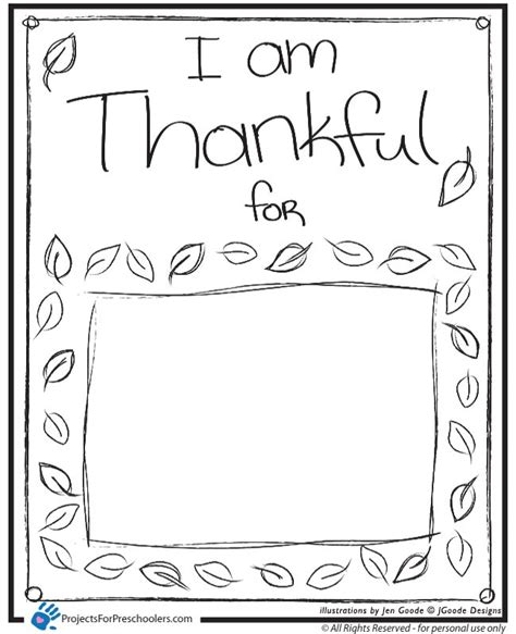 i am thankful for template pre k card i am thankful projects for preschoolers