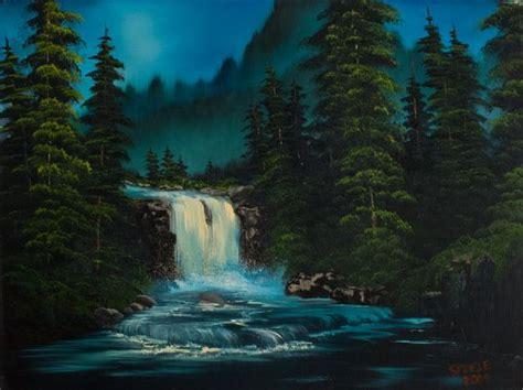 bob ross paintings waterfalls پائیزان نقاشی های زیبا از bob ross