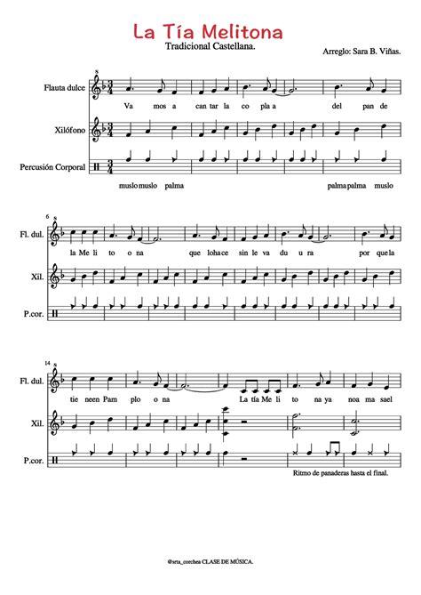 La Tía Melitona: Partitura + Playback. - Cuaderno de Música.