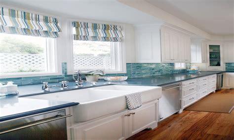 kitchen white cabinets blue backsplash pictures