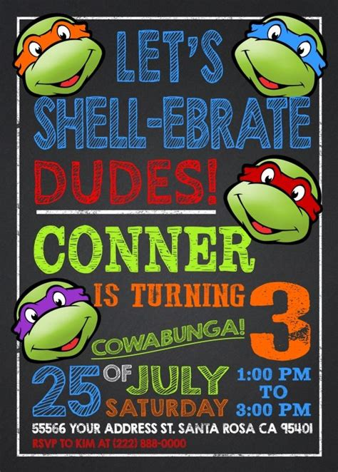 tmnt birthday card template invitation templates turtle invitations
