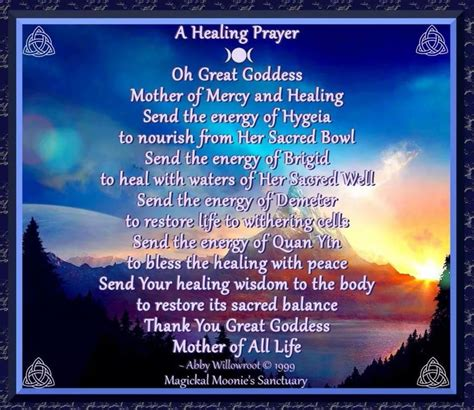 wiccan prayer a healing prayer wiccan prayers and blessings