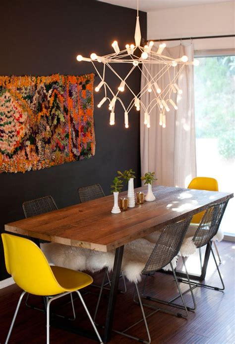 yellow dining room table don t be afraid incorporating dark walls into your home