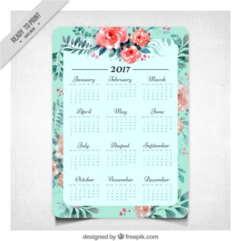 Calendario Septiembre 2017 Editable Calendario 2017 De Flores De Acuarela Descargar Vectores