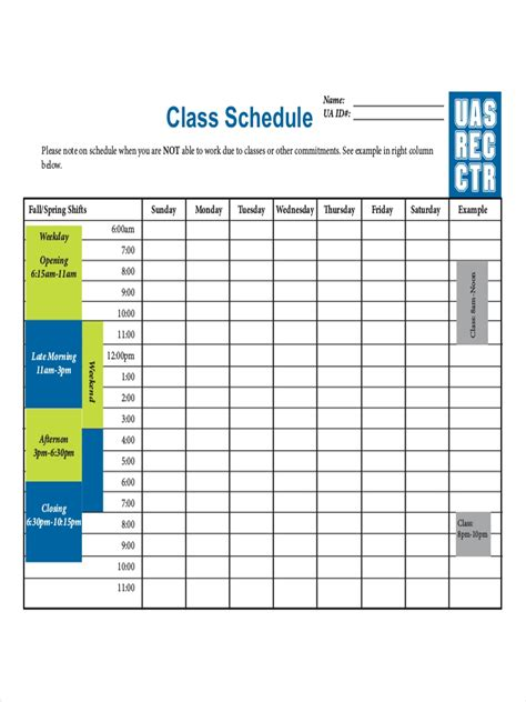 college schedule examples samples