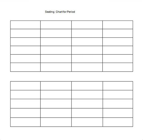 table chart template classroom seating chart template 10 free sle