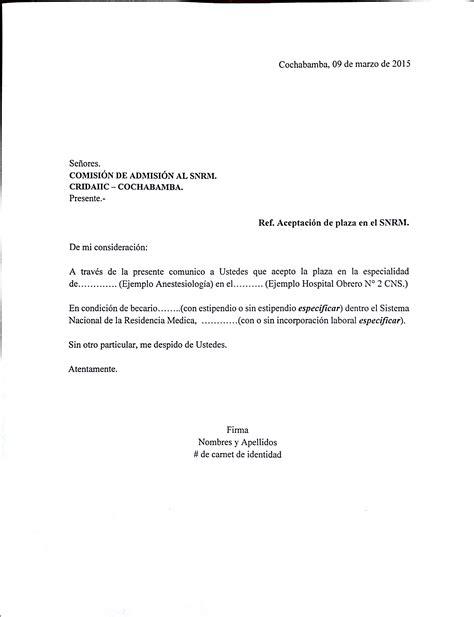 carta de solvencia modelo modelo de carta de aceptaci 243 n de plaza al snrm 2015 posgrado medicina umss