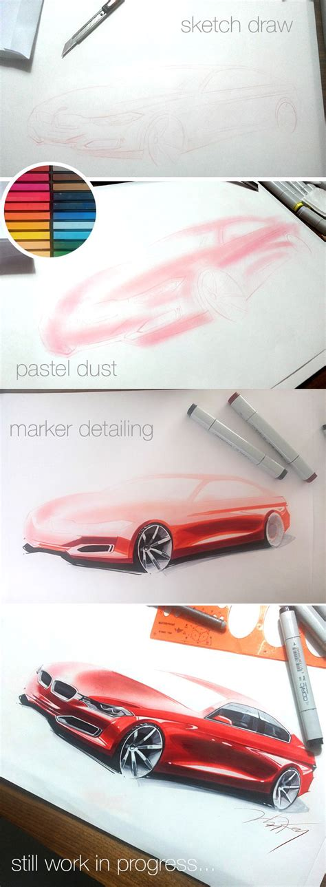 Copic Sketch Marker E51 car rendering with copic marker by orhan okay work in progress february 2014 design