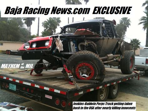 baja truck racing baja racing news live mayhem at the mil mike jenkins and
