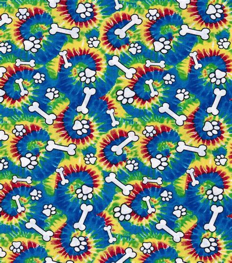 Novelty Quilting Fabric by Novelty Quilt Fabric Tie Dye Paws And Bones Jo