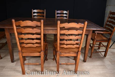 Farmhouse Dining Table And 6 Chairs Oak Refectory Table Set 6 Ladderback Chairs Farmhouse Dining Set