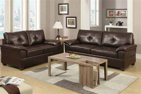 Brown Leather Sofa Sets by Poundex Elimination F7581 Brown Leather Sofa And Loveseat