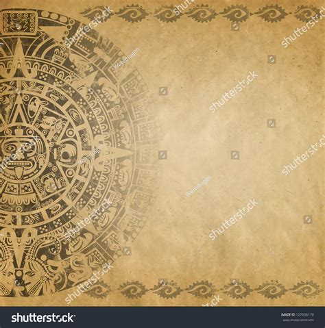 Vintage Newspaper Wallpaper Wallmaya Background American Indian Style Mayan Calendar Stock Illustration 127036178