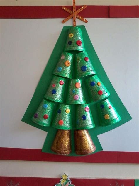styrofoam cup christmas tree craft for kids bulletin