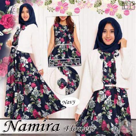 Gamis Syari Namira Gamis Remaja B064 Namira Flowers Baju Muslim Modern