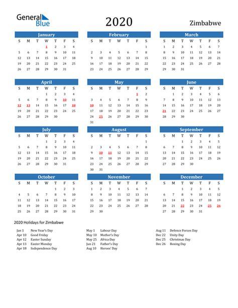calendar zimbabwe  holidays