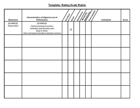template for rubric 10 best images about rubric on goals template