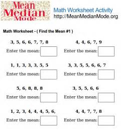 math worksheet activity find the mean 1 mean median