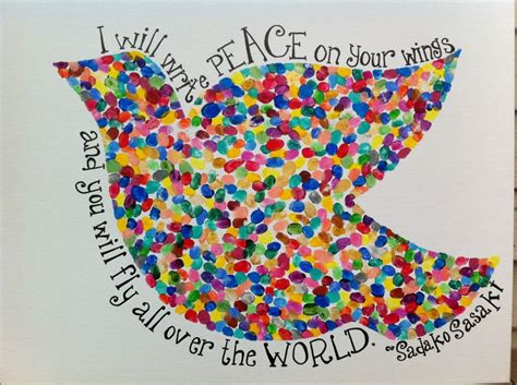 peace crafts for peace dove made with the thumbprints of 47 preschoolers