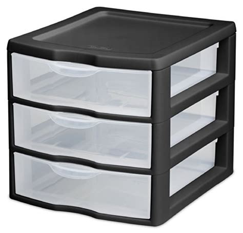 sterilite 20739006 small 3 drawer unit black frame with