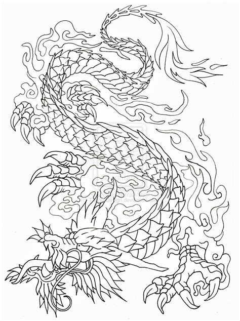 dragon outline by tattoo design on deviantart