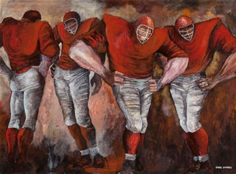 ernie barnes the bench ernie barnes football players oil on board