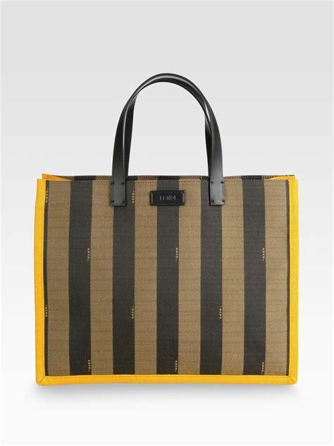 Fendi Matrioska Canvas Tote by Fendi Pequin Busta Striped Canvas Tote In Brown Yellow