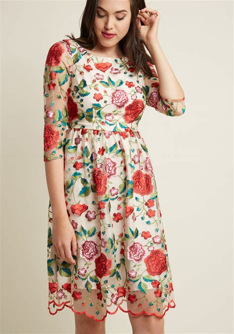 Garden Embroidered Dress Embroidered Garden Midi A Line Dress Modcloth