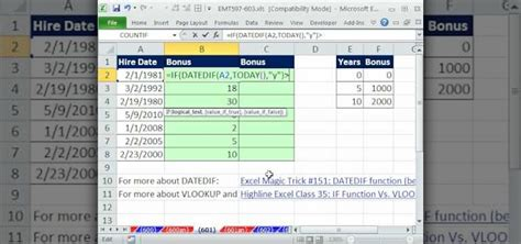 how to calculate years how to calculate bonuses based on years worked in ms excel 171 microsoft office