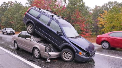 unusual multi car crash leaves volvo stacked  top  cadillac boston news weather sports