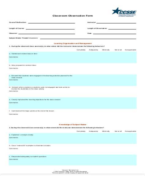 observation feedback form sle observation feedback form 10 exles in word pdf