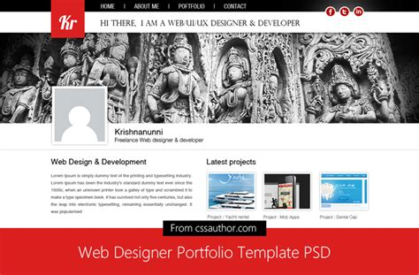 Web Designer Portfolio Template Psd For Free Download Freebie No 42css Author Free Web Developer Portfolio Template