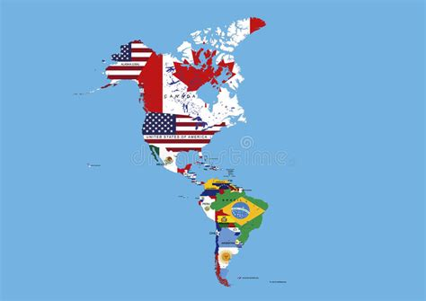 north america map with flags north middle and south america flags map names stock