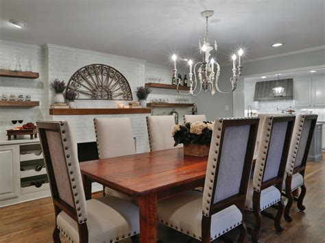 nailhead chairs  rustic chandelier  french country