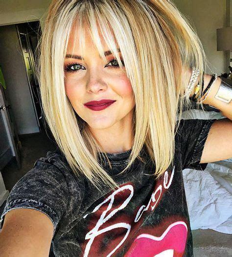 short blonde hair bangs mediumbobhaircuts blonde hair