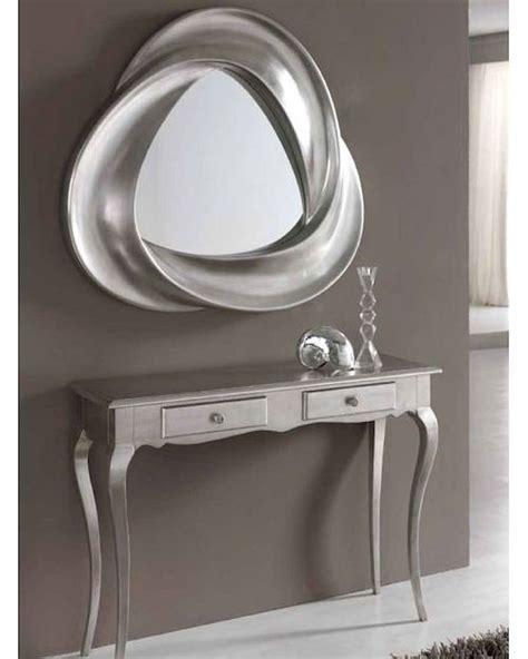 console table and mirror modern console table and mirror set in silver finish 33c61