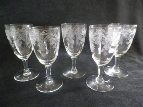etched barware small mini stemware wine glasses etched by jsvintagevillage