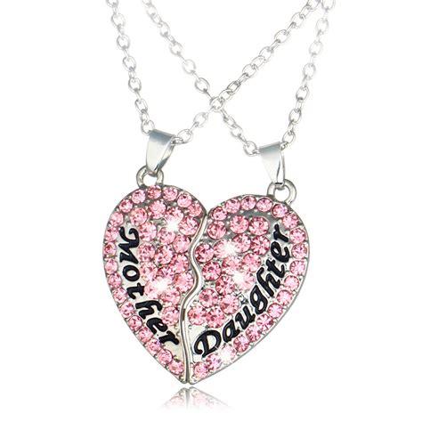kalung pasangan bentuk hati ibu dan anak necklace pink jakartanotebook