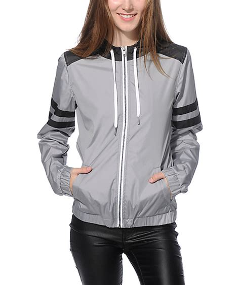 Jaket Parka Hiacket Black X Grey zine zion grey black athletic stripe windbreaker jacket zumiez