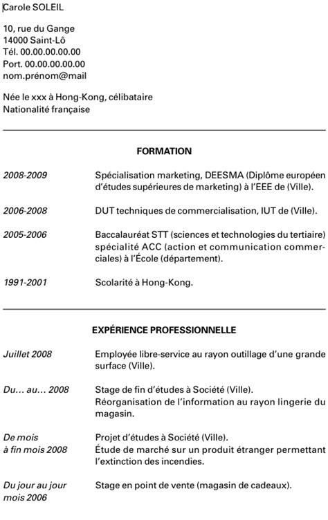 Lettre De Cv Stage Exemple De Cv Et Lettre De Motivation Pour Un Stage De Sp 233 Cialisation L Etudiant